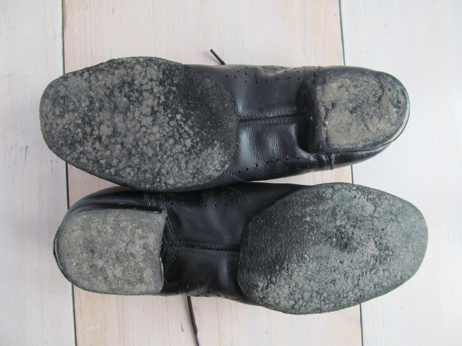 vintage ballet slippers - ballet shoes- black leather.