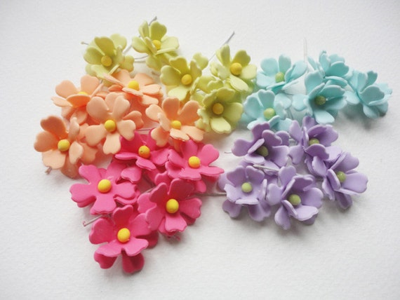 5 Spring Flower Flower With Wire Stem Flower Handmade Etsy