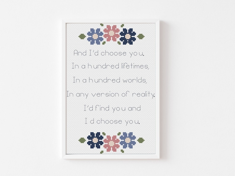 Continued Wedding or Anniversary Gift ideas download flowers Easy beginner Cross Stitch Pattern PDF I Choose You Floral border