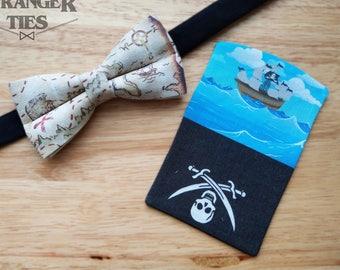 Pirate Themed Bowtie with Faux Pocket Square - Mens, Boys, Bowties, Formal, Unusual, Fun, Wedding, Ship, Treasure, Map, Skull & Crossbones