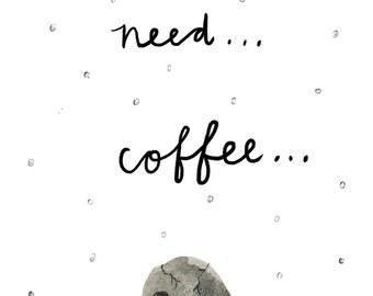 Need Coffee Skull Postcard A6