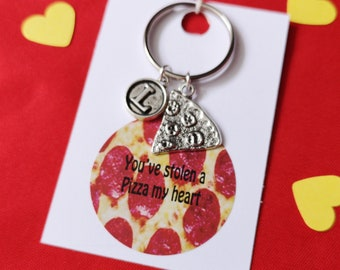 Friendship Pizza Keychains Pizza Slice Keyrings Personalized Bridesmaid Keychains Pepperoni Pizza Set of 8 Pizzeria Gift Whole Pizza Gift