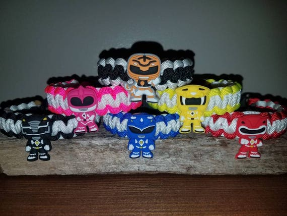 6 RANGER SET (with White Ranger)- Mighty Morphin Power Ranger 550 paracord bracelet MMPR