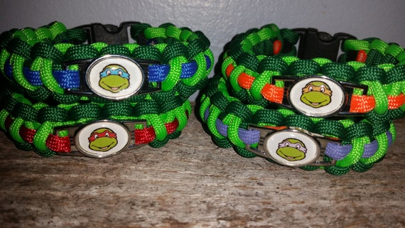 TMNT Teenage Mutant Ninja Turtles 550 paracord survival bracelet shoelace charm