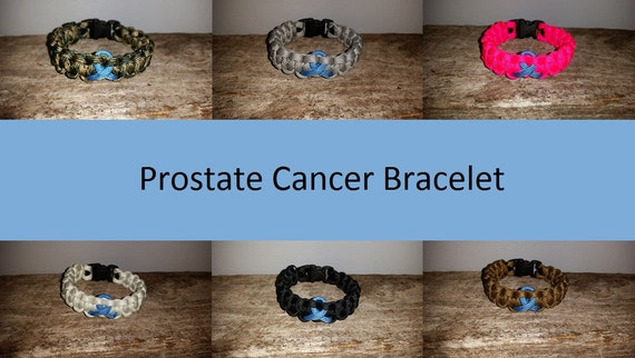 Prostate Cancer Awareness 550 paracord survival bracelet light blue ribbon