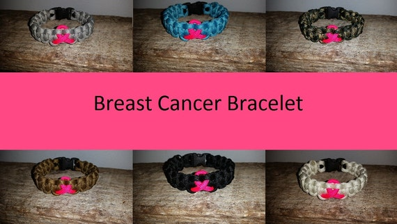 Breast Cancer Awareness 550 paracord survival bracelet pink ribbon