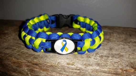 Down Syndrome Awareness ribbon 550 paracord survival bracelet shoelace charm