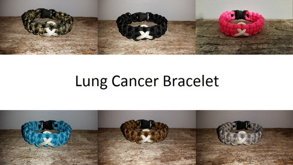 Lung Cancer Awareness 550 paracord survival bracelet white ribbon