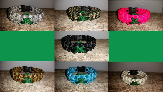 Kidney / Liver Cancer Awareness paracord survival bracelet green ribbon