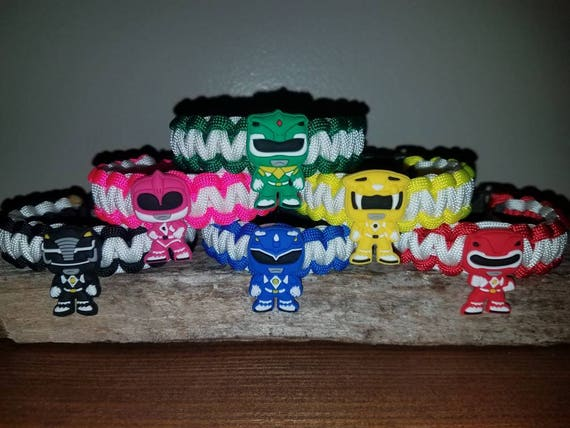 6 RANGER SET (with Green Ranger)- Mighty Morphin Power Ranger 550 paracord bracelet MMPR