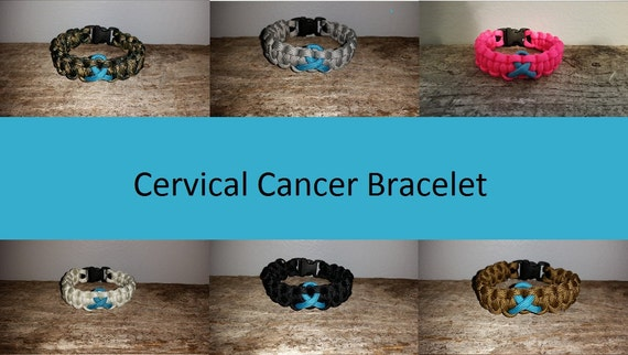 Scleroderma / Cervical Cancer Awareness 550 paracord survival bracelet teal ribbon