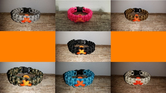 Leukemia / Kidney Cancer / Multiple Sclerosis MS Awareness 550 paracord survival bracelet orange ribbon