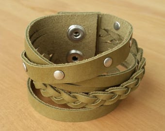 Olive green leather bracelet, leather cuff with plait and studs