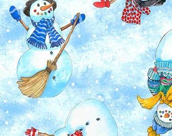 Snow Magic - Snowman Allover on Sky Fabric