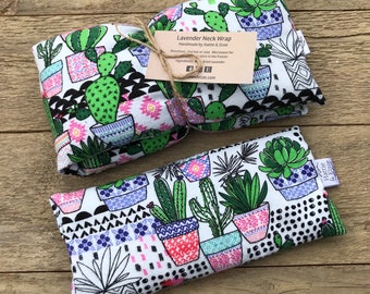 Lavender Neck Wrap & Eye Pillow Set / Reusable Microwave Heat Pad / Heat Cold Therapy / Eye Mask / Migraine Relief / Mother's Day Gift