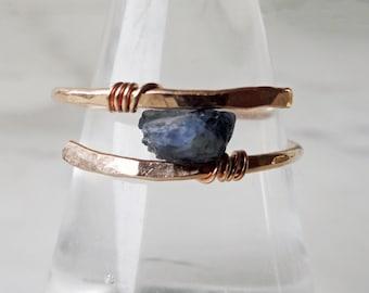 Raw Sapphire ring. Handmade Bronze and solitaire Sapphire ring. Blue Sapphire ring. September birthstone boho chic ring. Modern bohemian. UK