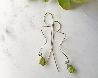 Peridot crystal earrings - raw crystal earrings - Peridot earrings - raw stone earrings - alternative wedding - edgy earrings - unusual - UK