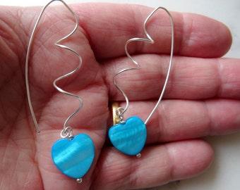 Silver spiral earrings - something blue for bride - silver earrings - alternative wedding - romantic gift for her - heart earrings - beach