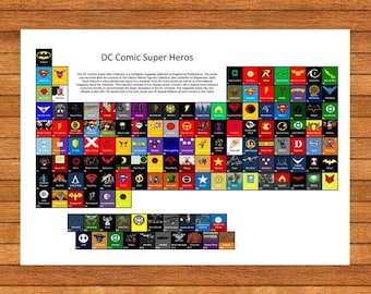 Marvel style superhero periodic table home decor print etsy dc comics style superhero table comic books home decor periodic table print only word perfect gifts urtaz Image collections