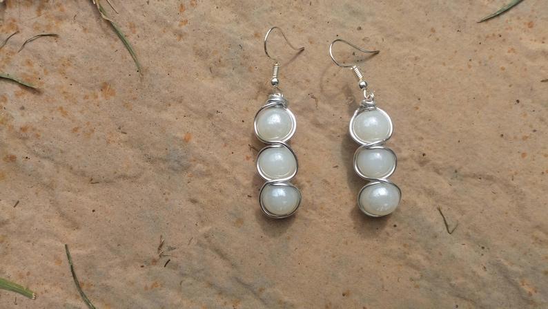Handmade Triple Pearl-style Wire Wrapped Bead Drop Earrings image 0