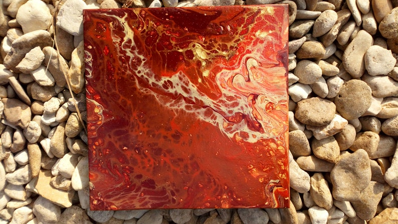 Hand Painted Acrylic Pour Artwork on Ceramic Tile  Autumn image 0