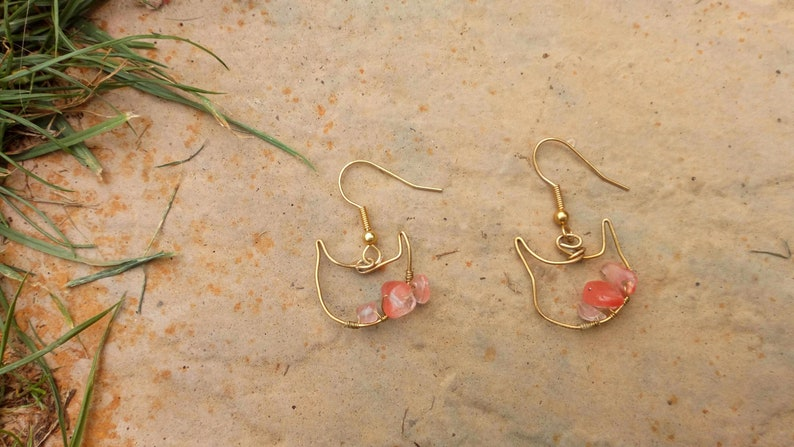 Handmade Cherry Quartz Beaded Gold Wire Cat Earrings  Cat image 0
