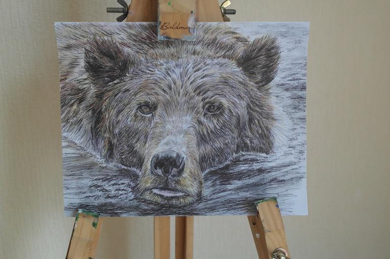 Watercolour and Biro Bear Original Painting  8x10 inch  image 0