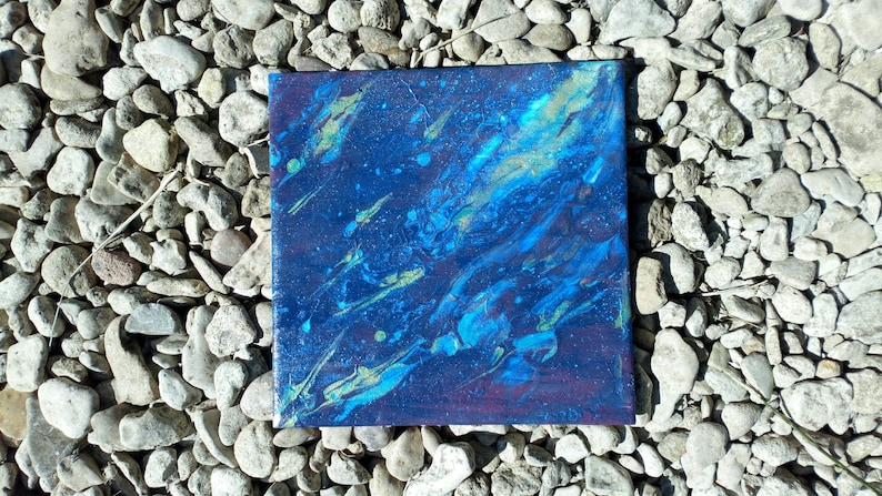 Hand Painted Acrylic Pour Artwork on Ceramic Tile  Blueberry image 0