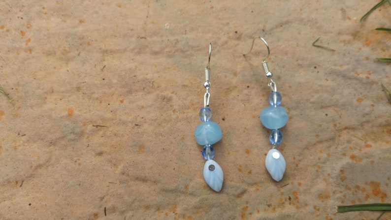Handmade Pastel Blue Leaf Beaded Delicate Drop Earrings image 0