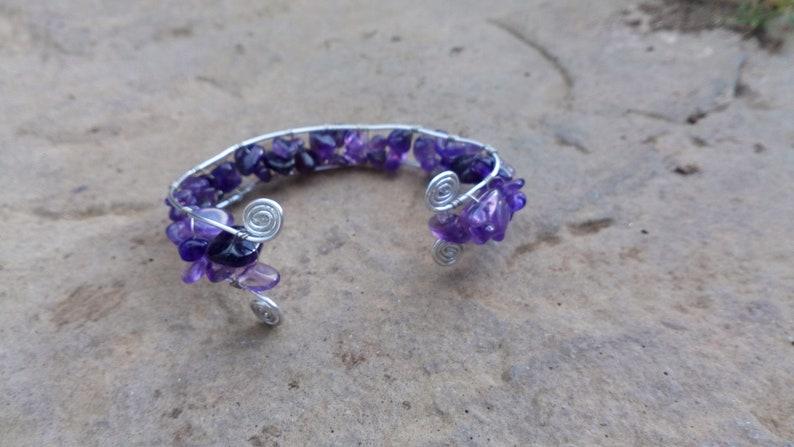 Amethyst Chip Bead Silver Wire Spiral Adjustable Cuff Bracelet image 0
