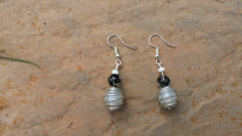 Handmade Wire Wrapped Pearl-style Beaded Earrings image 0