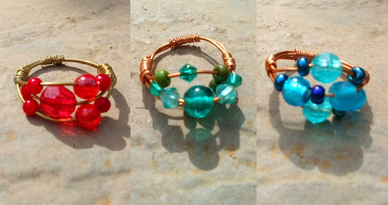 Wire Wrapped Triple Beaded Ring  Multiple Colours Available image 0