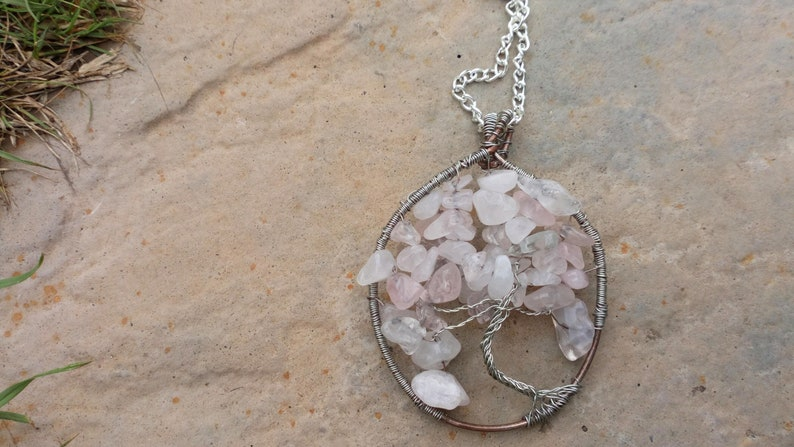 Handmade Silver Wire Wrapped Rose Quartz Tree of Life Pendant image 0