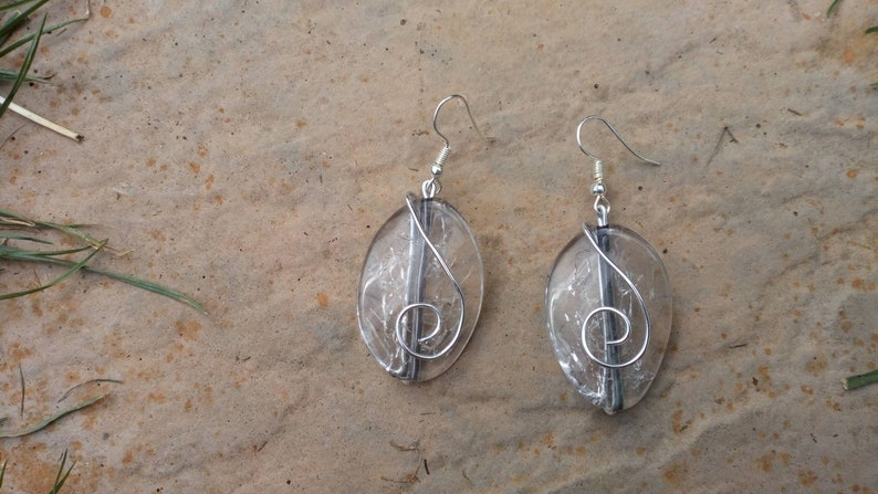 Handmade Wire Wrapped Oval Crackle Bead Drop Earrings image 0