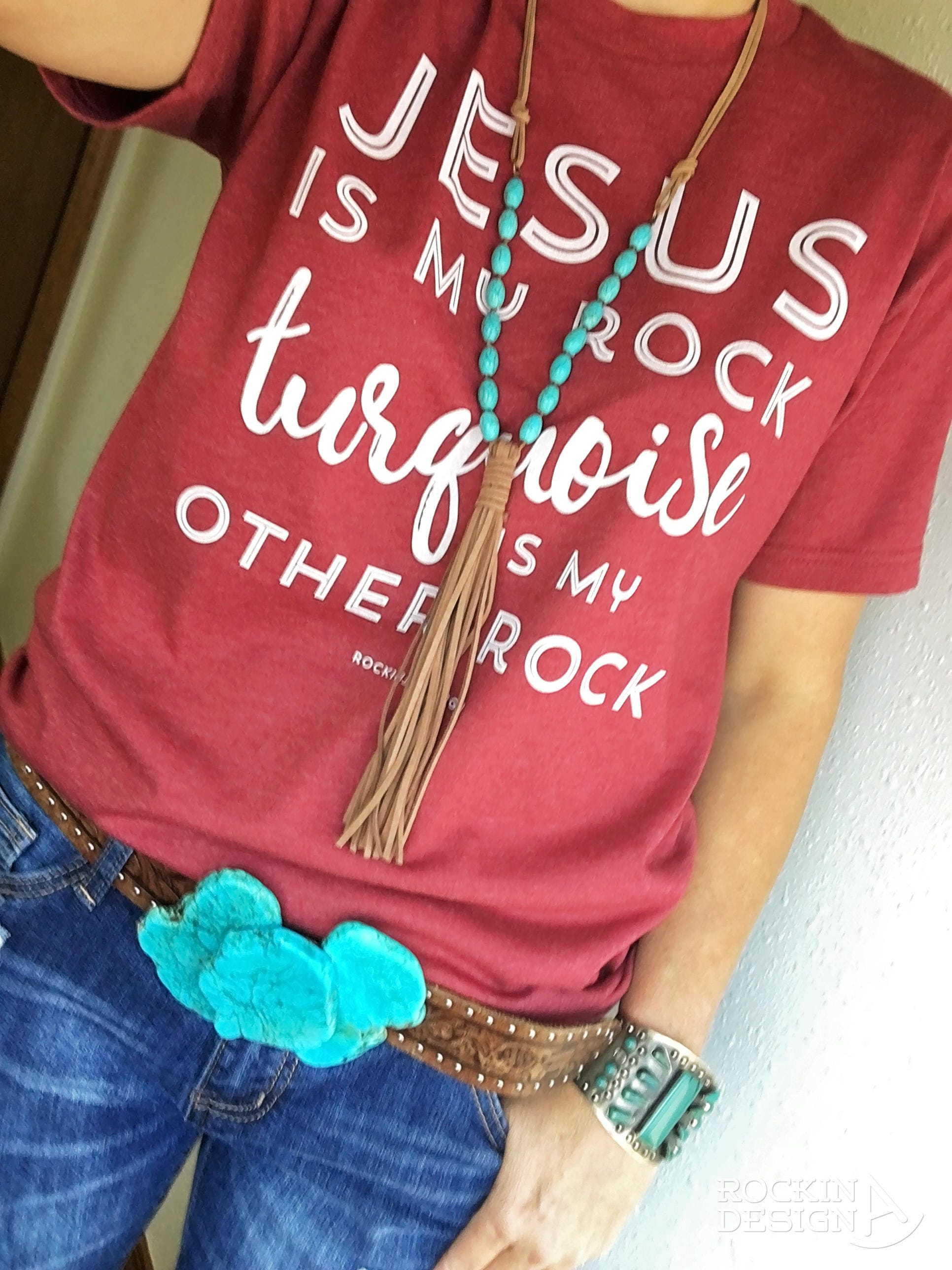 Jesus Is My Rock Turquoise Is My Other Rock / poly-cotton | Etsy