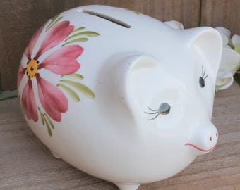 Little Floral Ceramic Hand-painted Piggy Bank