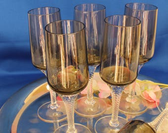 Set 6 Prosecco Smoke Grey Hand Blown Flutes - Vintage Italian Glass