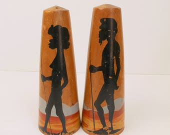 Retro African Salt and Pepper Shakers - Vintage Set
