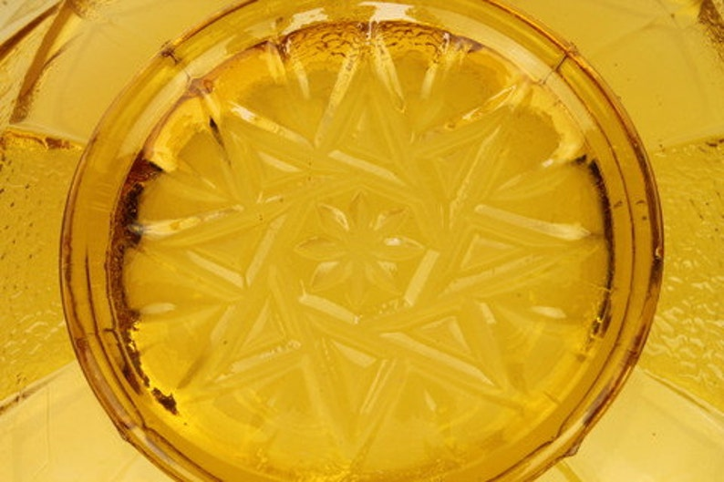 Sowerby Art Deco Amber Pressed Glass Bowl
