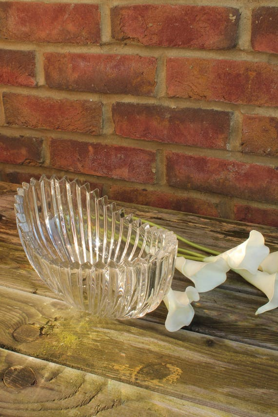 Brilliant White Sowerby Oval Boat Vase Pressed Glass Cut
