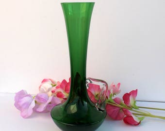 Fine Hand-Made Green Art Glass Bud Vase - blown glass - Floral Styling - Glass Collector - Retro or Mid-century