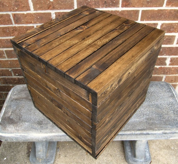 15 Inch Storage Cube - Rustic Vinyl Record Storage Box - Wooden Crate Style Box - Handmade Short Side Table Box - Boho Farmhouse Storage Box