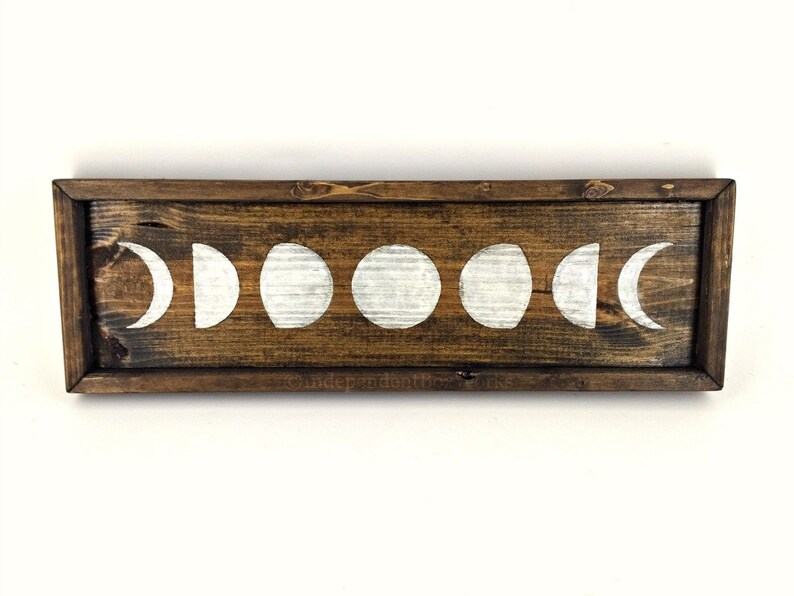 Crystal Display Wood Jewelry Tray Candle Holder Lunar Cycle Tray Moon Phase Shallow Vanity Tray Boho Decor Brown Grey or White Tray