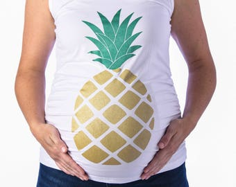 ad515c4dfd969 Pineapple Maternity Shirt, Funny Maternity Tee, Aloha shirt, Hawaiian shirt,  maternity tank top, mothers day, love and pineapple