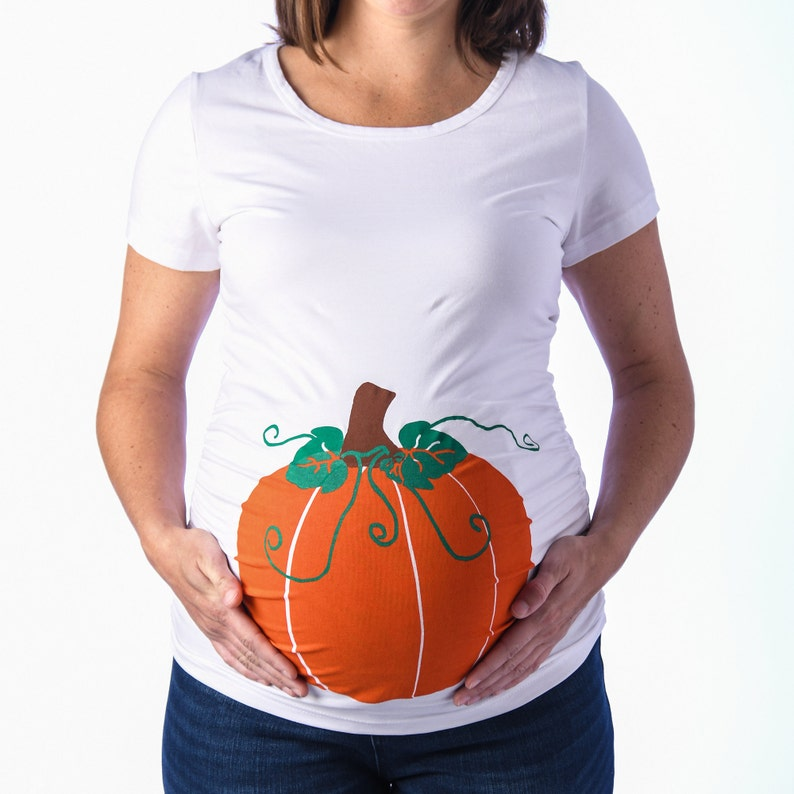 Pumpkin Maternity Shirt, Halloween Maternity Shirt, Pregnant Halloween  Costume, Pumpkin Spice Gender Reveal, Funny Maternity, White Tee