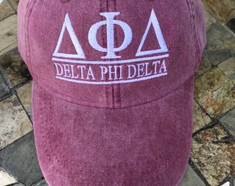 04ff0e82 delta phi delta, Sorority hats, Embroidered Adams Hat, Monogrammed Hat, Fraternity  Hats, Distressed Hat, Personalized Hat, Custom Hat,