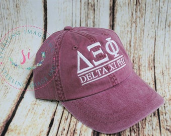 072e9c8e delta xi phi, Sorority hats, Embroidered Adams Hat, Monogrammed Hat,  Fraternity Hats, Distressed Hat, Personalized Hat, Custom Hat,