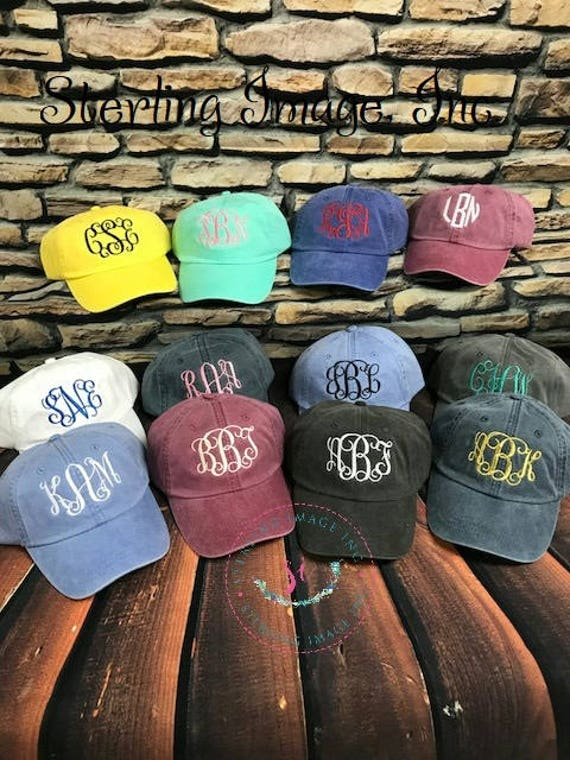 Embroidered Hat Monogrammed Hat Distressed Hat Personalized  0bbe720489b6