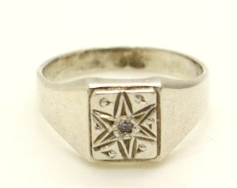 Real Sterling Silver Mens Christmas Six point Star of David SIGNET Ring sz P 1/2 US 8 Sweetheart Christmas Birthday Gift for Him Dad