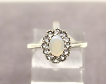 Real Sterling Silver Opalite Cubic Zirconia Cluster Ring sz UK S US 9 Christmas Birthday Gift for Her Mum